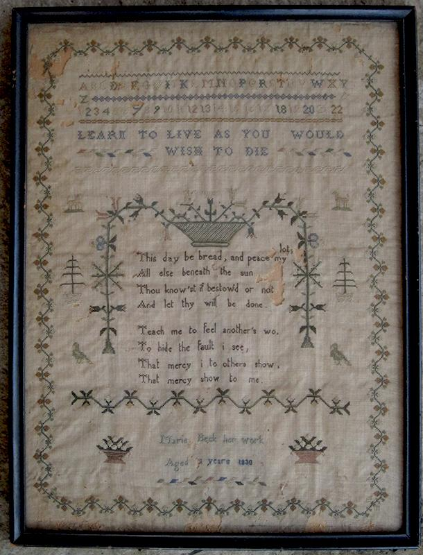 Embroidered Sampler Dated 1830