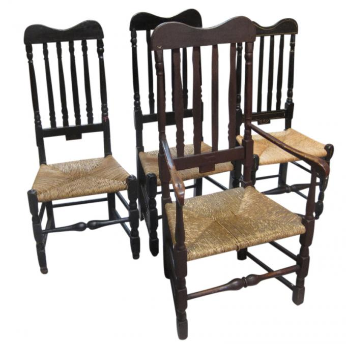 Group of Four Banister-Back Chairs