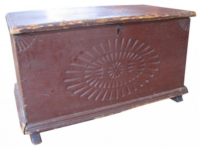 Diminutive 18th century carved blanket chest