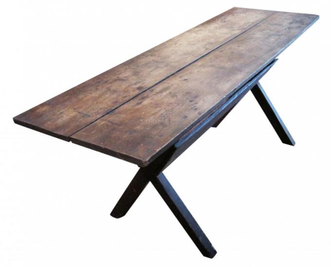 antique, American, Americana, furniture, country furniture, farm table, sawbuck, 19th century