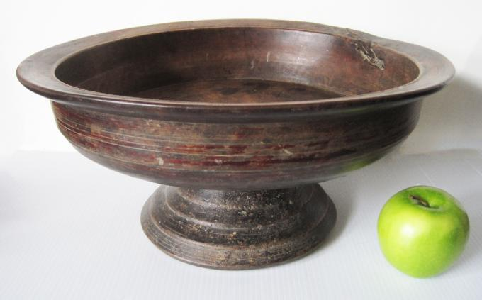 Painted Wooden Pedestal Bowl