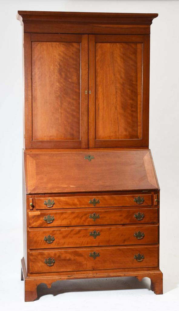 antique, American, Americana, furniture, country furniture, Chippendale,  secretary, cherry - Chippendale Cherry Secretary Linda Rosen Antiques