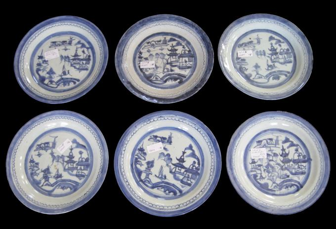 "Six 10"" Chinese Export Plates"