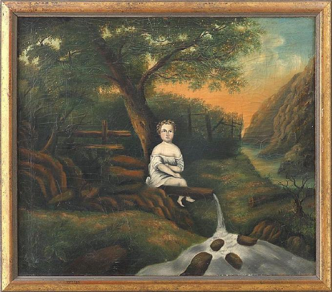 Antique Folk Art portrait of a girl on a water pipe