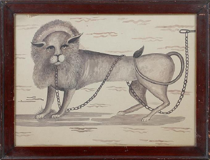 Folk Art Watercolor of a Lion