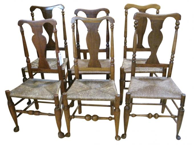 Set of Six Hudson Valley Queen Anne Chairs