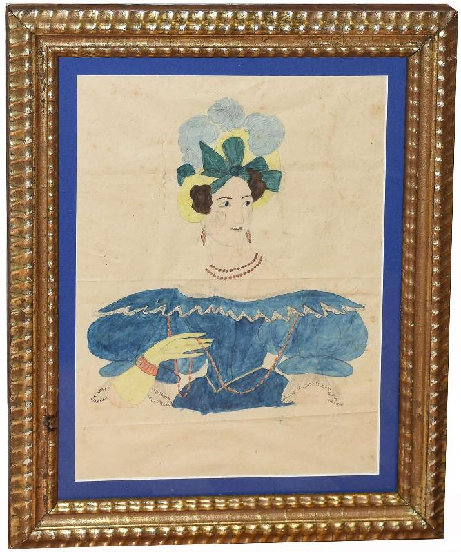 Folk Art Watercolor of a Woman