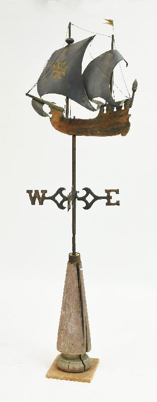 Antique Wooden Galleon Weathervane