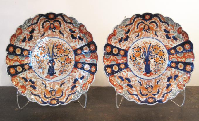 Pair of Large Imari Chargers