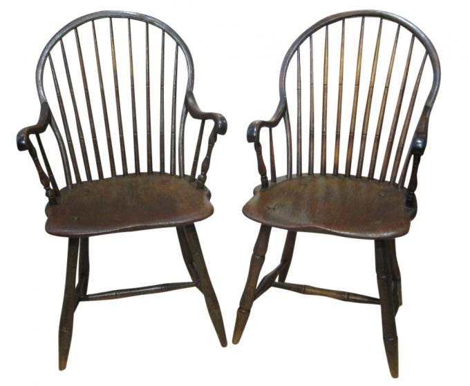 Pair of Windsor Sack-Back Armchairs