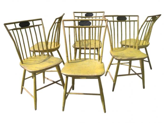 Set of 6 Yellow Birdcage Windsor Chairs