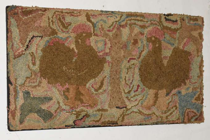 Antique Hooked Rug - Roosters and Birds