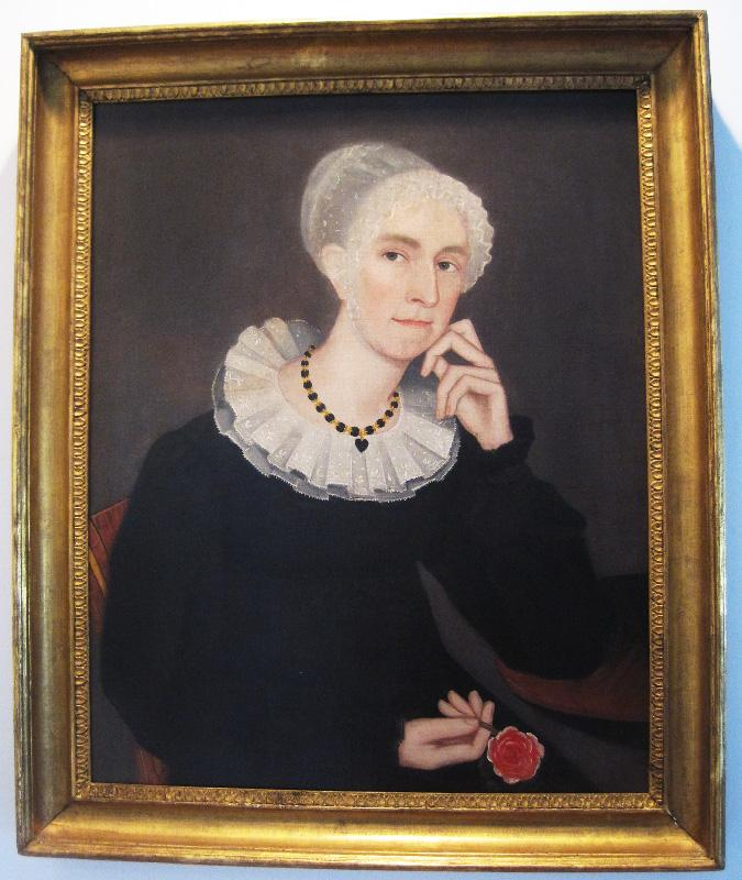 Painting of Lady With a Rose - Ammi Phillips