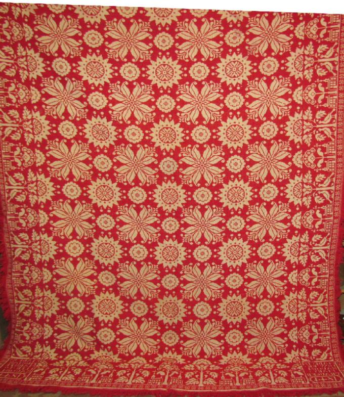 Red and White Coverlet - 1844