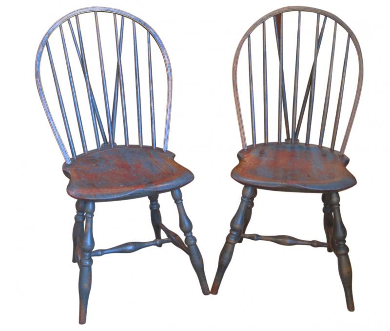 Pair Of Antique Brace Back Windsor Chairs