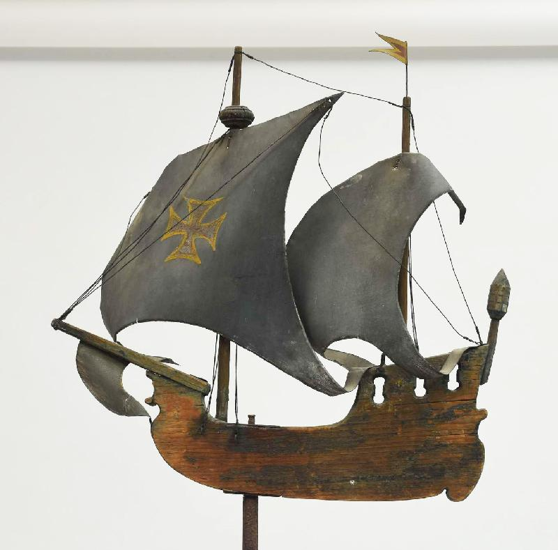 Vintage Wooden Weathervanes: Antique Wooden Galleon Weathervane