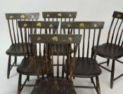 Set of 6 Paint Decorated Windsor Chairs