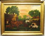 Folk Art Painting of a Barnyard Scene